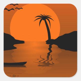 Tropical sunset scene square sticker