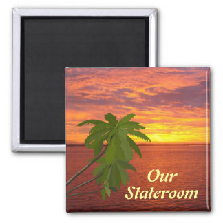 Tropical Sunset Sq Door Marker 2 Inch Square Magnet