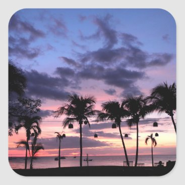 Beach Themed Tropical Sunset Square Sticker