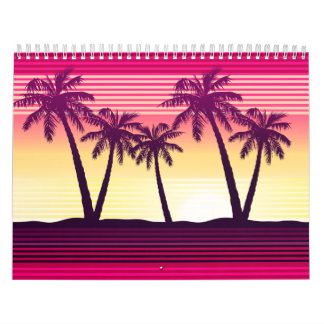 Tropical sunset stripes calendar