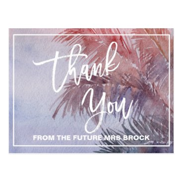 Beach Themed Tropical Sunset Thank You Postcard