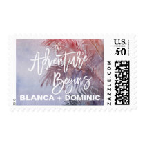 Tropical Sunset The Adventure Begins Wedding Postage