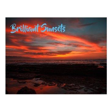 Beach Themed Tropical Sunset Twilight Setting Over Rocky Beach Postcard