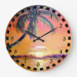 Tropical Sunset Wall Clocks