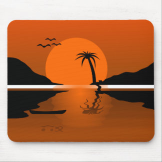 Tropical Sunset Water Scene Landscape Mousepad