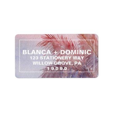 Beach Themed Tropical Sunset Wedding Label