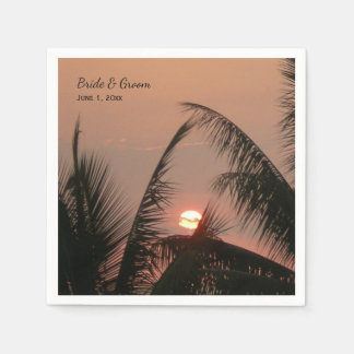 Tropical Sunset Wedding Paper Napkins