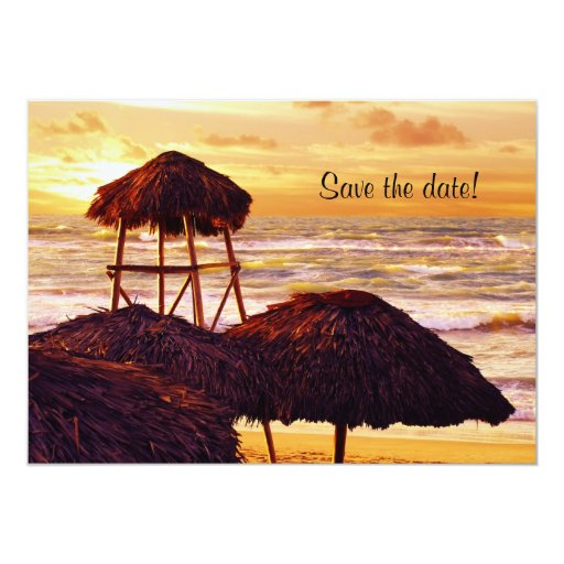 Tropical sunset wedding save the date 5x7 paper invitation card