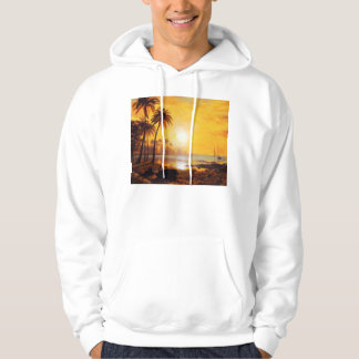 Tropical Sunset with Fishing Boats Hoodie