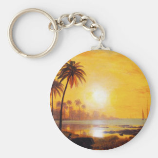 Tropical Sunset with Fishing Boats Key Chain