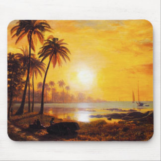 Tropical Sunset with Fishing Boats Mouse Pad