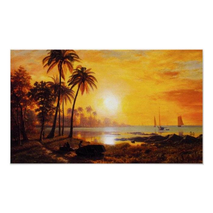 Tropical Sunset with Fishing Boats Poster