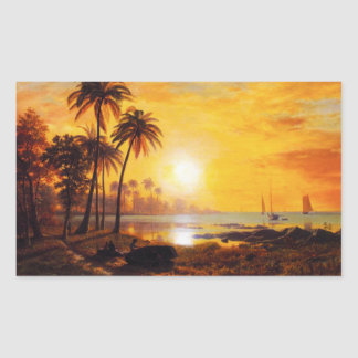 Tropical Sunset with Fishing Boats Stickers