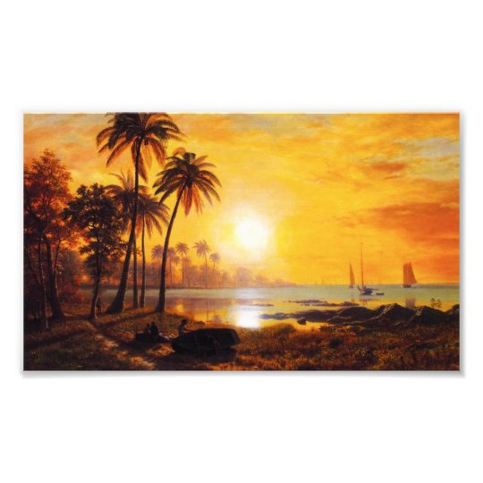 Tropical Sunset with Fishing Boats Sunset Photo Print