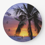 Tropical Sunset with Palm Tree Wallclock