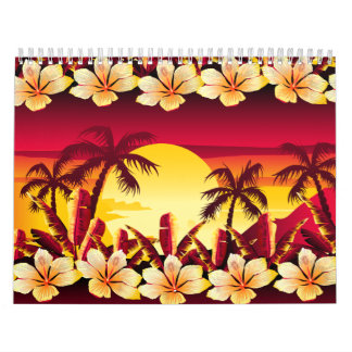 Tropical sunset with palms calendar