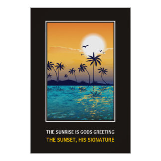 Tropical sunset with quote motivational print