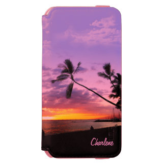 Tropical Sunset with your Name iPhone 6/6s Wallet Case