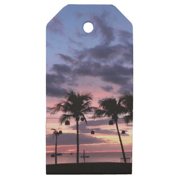 Beach Themed Tropical Sunset Wooden Gift Tags