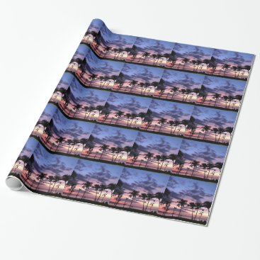 Beach Themed Tropical Sunset Wrapping Paper