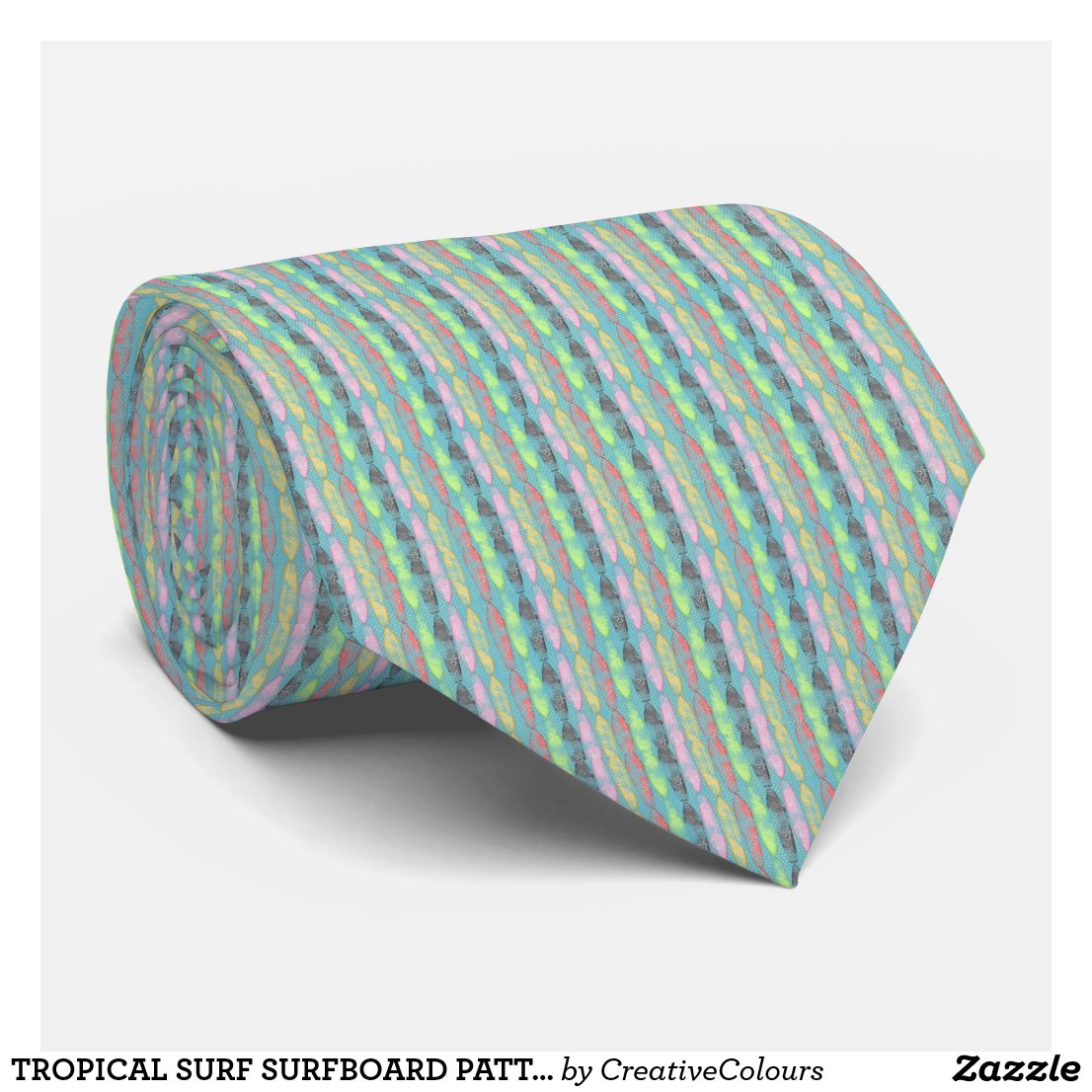 TROPICAL SURF SURFBOARD PATTERN GRUNGE TEXTURE BAC NECK TIE