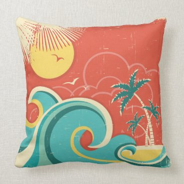 Beach Themed Tropical Surf Wave Pillow