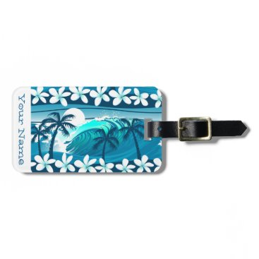 Beach Themed Tropical surf wave with palm luggage tag