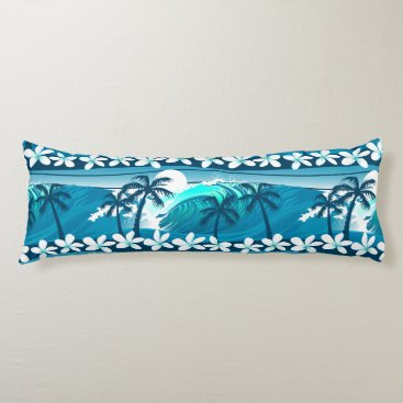 Beach Themed Tropical surf wave with palm trees body pillow