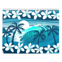 Tropical surf wave with palm trees calendar