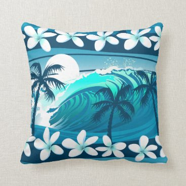 Beach Themed Tropical surf wave with palm trees throw pillow