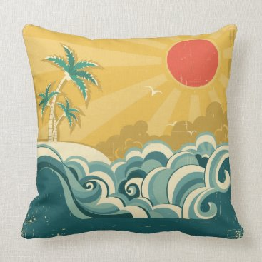 Beach Themed Tropical Surf Waves Pillow