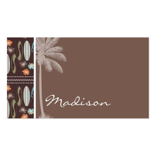 Tropical Surfboards & Hibiscus Business Card Templates