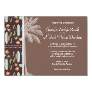 Tropical Surfboards & Hibiscus Personalized Invitations