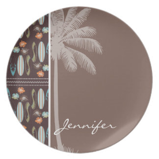 Tropical Surfboards & Hibiscus Plates