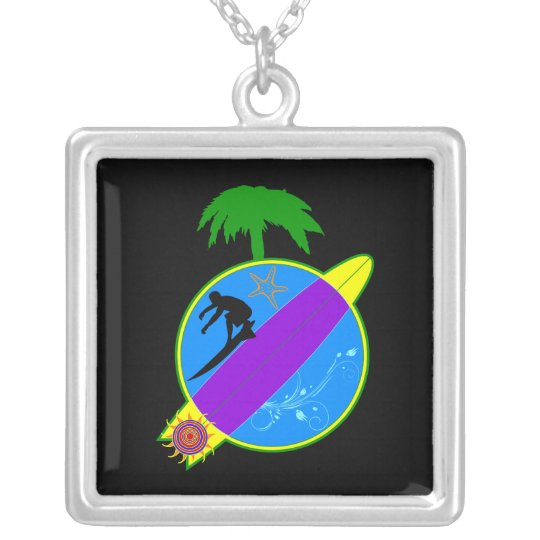 Tropical Surfer.png Silver Plated Necklace