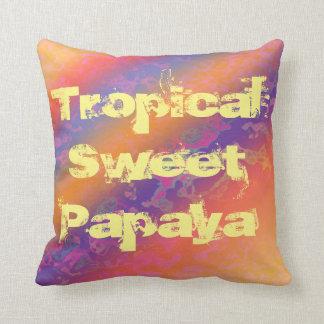 Tropical Sweet Papaya Throw Pillow