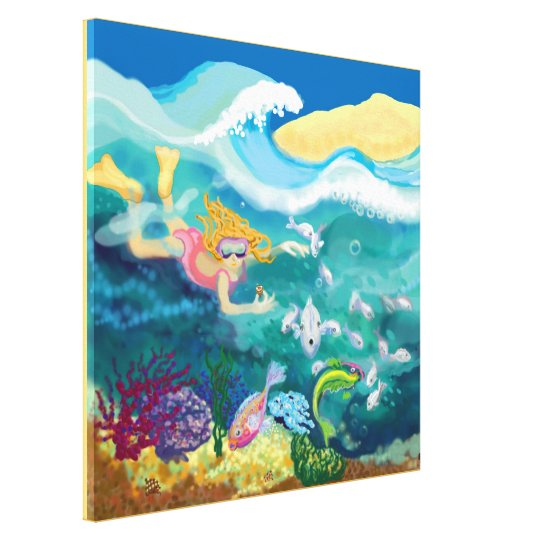 Tropical swim canvas print