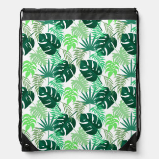 Tropical Swiss cheese plants (leaves) Drawstring Backpack