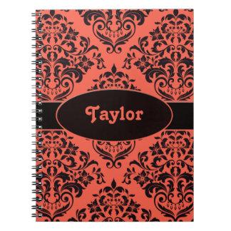 Tropical Tangerine Damask Spiral Notebook