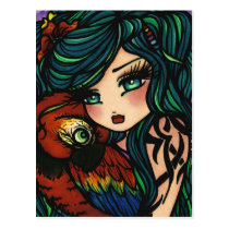 Tropical Tattoo Parrot Mermaid Fantasy Art Girl Postcard