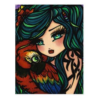 Tropical Tattoo Parrot Mermaid Fantasy Art Girl Postcard