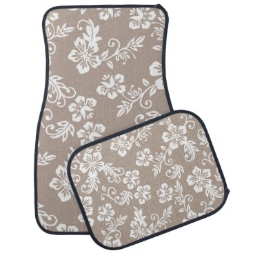 Beach Themed Tropical Taupe Brown Hawaiian Floral Car Mats