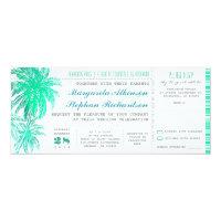 Tropical teal beach wedding tickets -boarding pass 4x9.25 paper invitation card (<em>$2.30</em>)