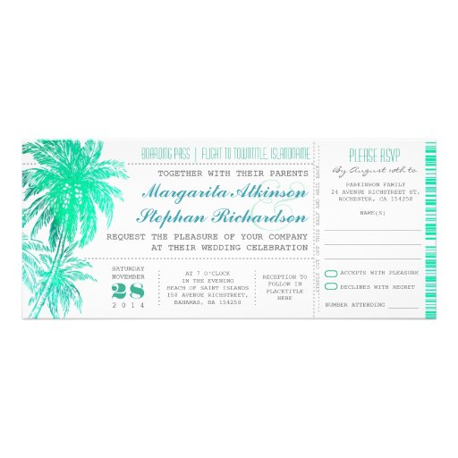 Tropical teal beach wedding tickets -boarding pass invite