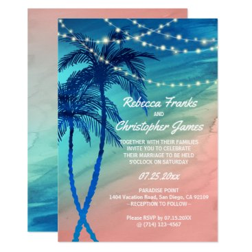 Beach Themed Tropical Teal Blue & Peach Wedding Invitations