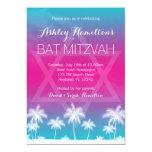 Tropical Teal Blue Pink Bat Mitzvah 5x7 Paper Invitation Card