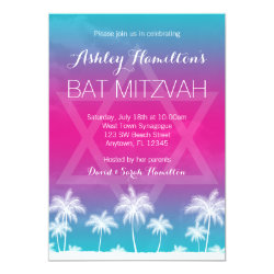 Tropical Teal Blue Pink Bat Mitzvah Card