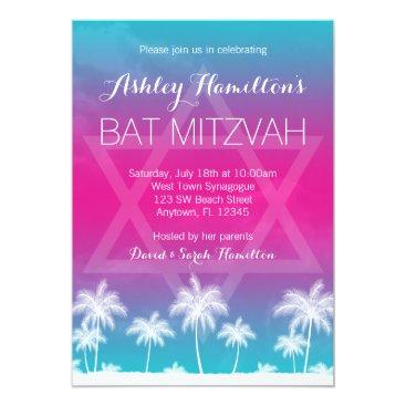 Beach Themed Tropical Teal Blue Pink Bat Mitzvah Card