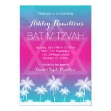 Tropical Teal Blue Pink Bat Mitzvah Invitation