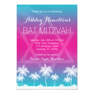 Tropical Teal Blue Pink Bat Mitzvah 5x7 Paper Invitation Card
